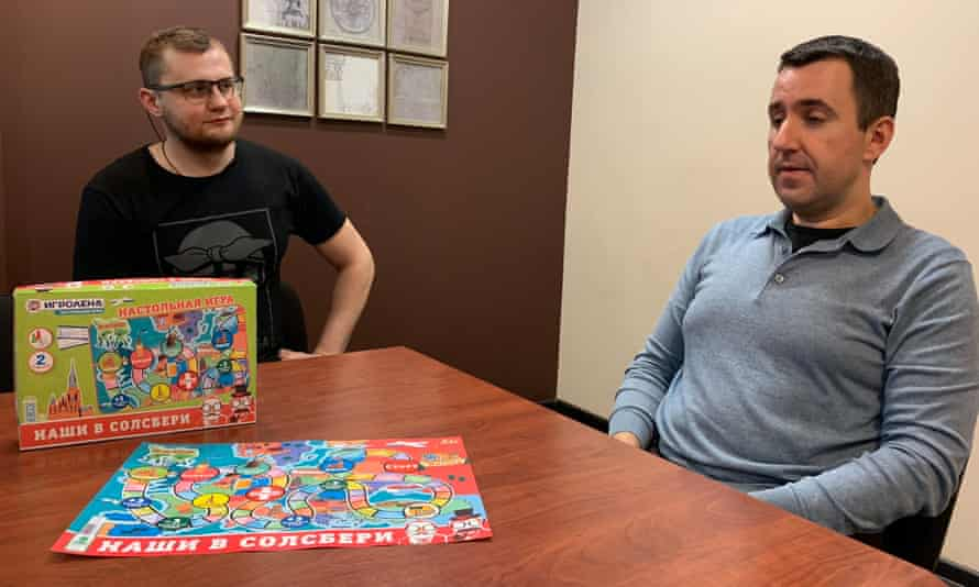 Igroland employees Nikita Filipov and Mikhail Bober with their board game Our Guys in Salisbury.