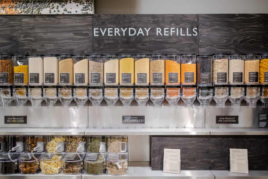 New-format Waitrose store in Oxford where shoppers can refill their own containers from refills to save on packaging
