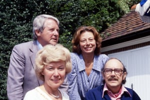 The pair with their wives, Joan Bartlett and Doreen Wise, in Morecambe's garden in Harpenden