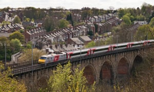 A Virgin east coast mainline train crossing Durham viaduct