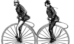 A plate from Charles Spencer's 1877 guide to modern cycling: the 'duplex Bicycle'