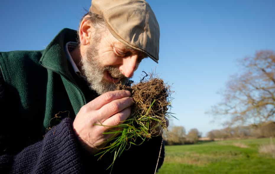 John Cherry of Weston Park Farms inspects and smells the soil in one of his fields.