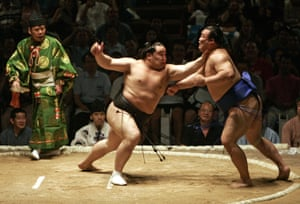 In 2003 Asashōryū Akinori (pictured in the black mawashi fighting at the 2007 Grand Sumo Tournament in Hawaii) became the 68th yokozuna and the first Mongolian to reach sumo's highest rank