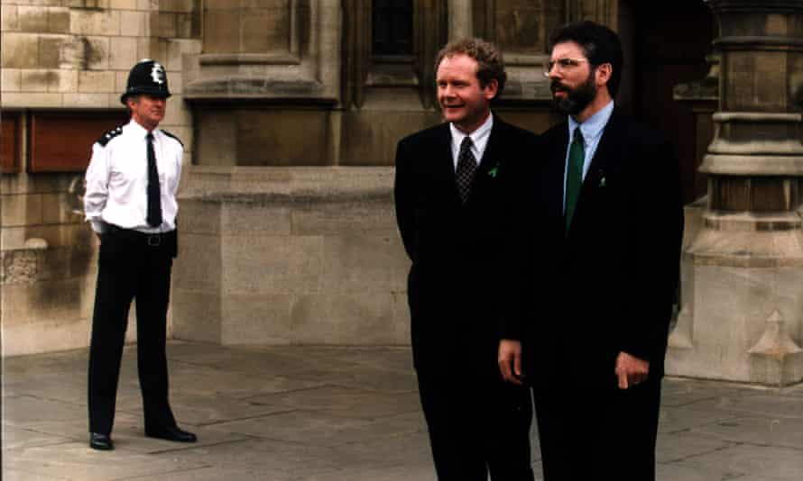 Martin McGuinness and Gerry Adams outside the House of Commons.
