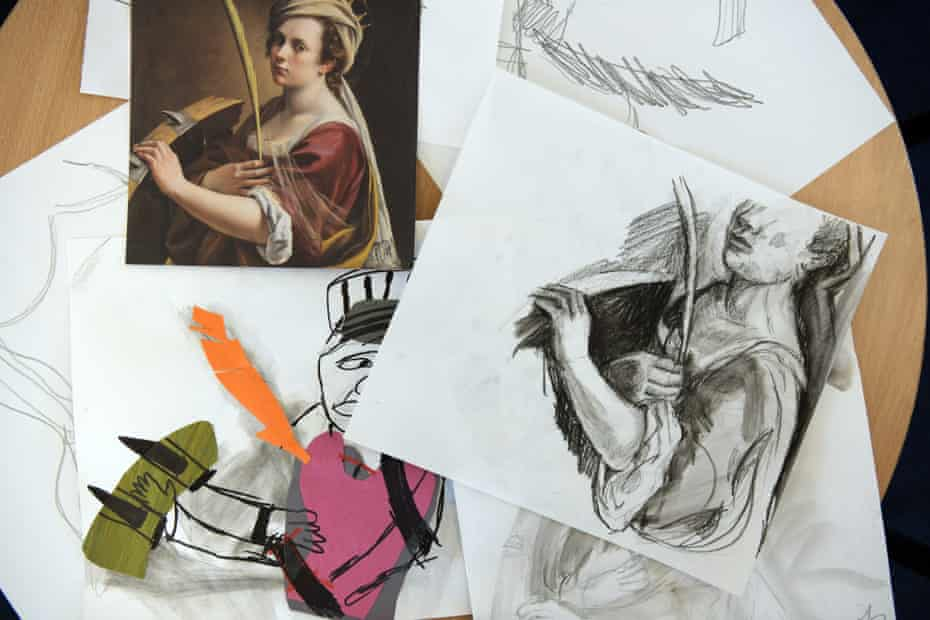 Inmates' gripping drawings of Gentileschi's self-portrait.