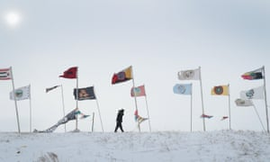 Blizzard conditions at the Standing Rock Sioux reservation, where activists have been opposing the pipeline for almost a year. Drilling could begin as early as Wednesday.