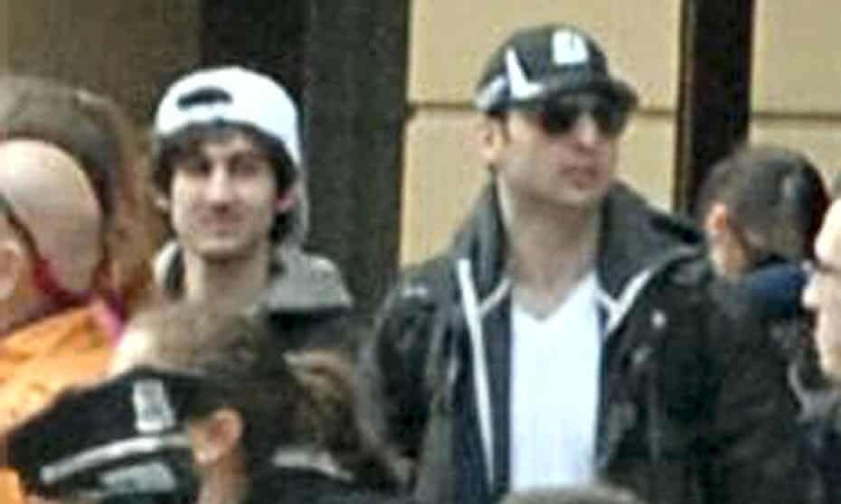 Dzhokhar Tsarnaev, left, is captured on surveillance footage with his older brother Tamerlan near the Boston Marathon finish line shortly before two bombs exploded at the end of the 2013 race.
