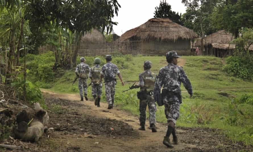 Myanmar soldiers on patrol in Rakhine state