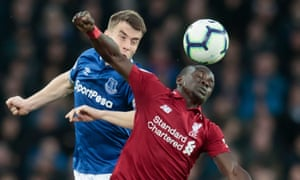 Sadio Mané, here under pressure from Everton's  Séamus Coleman, has carried Liverpool's forward line recently but never seems as comfortable in the middle as he does on the flank.