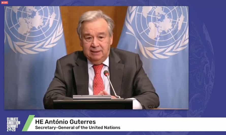 Antonio Guterres at this weekend's virtual climate summit, which took place without the US.