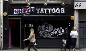 A shop offering satirical tattoos for free on the day before the referendum.