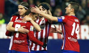 Atletico Madrid striker Antoine Giezmann (second left) will be among the stars to play in the tournament in Melbourne.