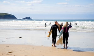 Surfing at Fistral Beach.