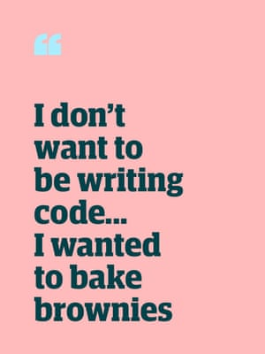 Quote: 'I don't want to be writing code … I wanted to bake brownies'