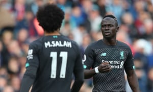 Sadio Mané gives Mohamed Salah a piece of his mind during Liverpool's 3-0 win over Burnley at Turf Moor.