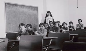 Children at Cross Lake Indian residential school in in Manitoba, Canada, in 1940