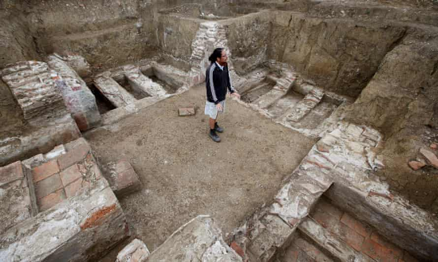 Archaeologist Ilija Danković at the Viminacium site in north-eastern Serbia