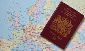 UK passport placed on a map of Europe