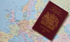 UK passport on Europe map