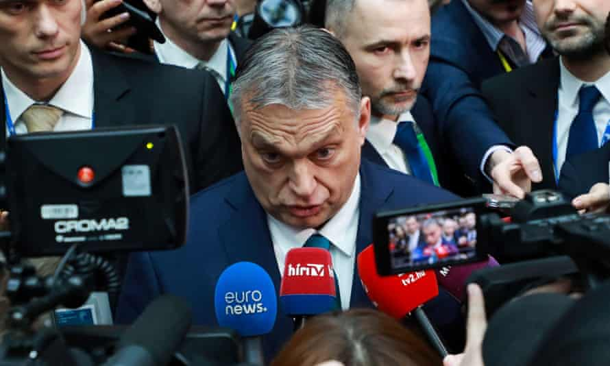 Hungary's prime minister, Viktor Orbán, at a special summit of the European council in Brussels on 21 February 2020.