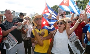 Cuban Americans celebrate the death of Cuban leader Fidel Castro on the streets in the Little Havana neighborhood of Miami Florida.