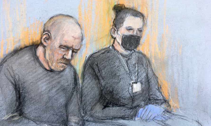 Court artist sketch of Wayne Couzens (left), appearing in the dock at Westminster magistrates court.