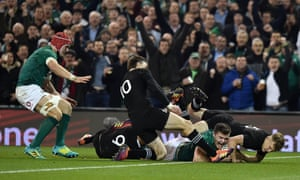 Jacob Stockdale scores Ireland's try after his chipped kick.