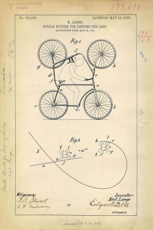 USA 1905: Artwork of a double bicycle patent invented by Karl Lange. It was designed to perform a loop-the-loop stunts at circus performances
