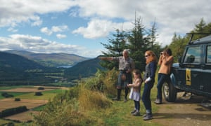Family at viewpoint. Wildlife Safari, Aberfeldy, Perthshire