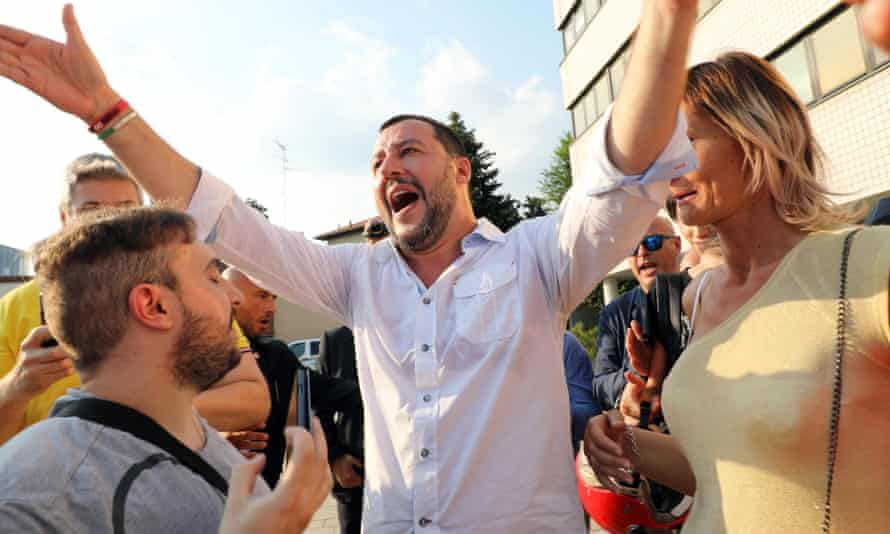 Matteo Salvini attends a local election rally in Cinisello Balsamo, near Milan, on Sunday.