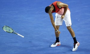 Nick Kyrgios lets off some steam against Tomas Berdych.
