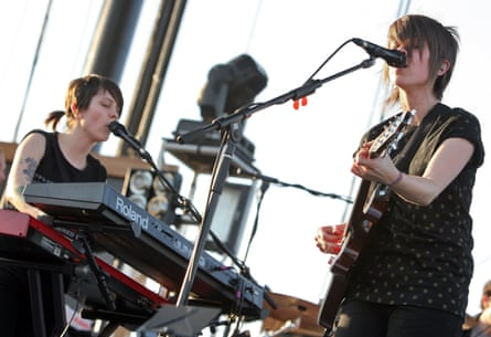 Tegan (left) and Sara playing Coachella in Indio, California, in 2008