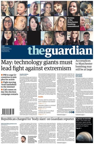Guardian front page, 26 May 2017.