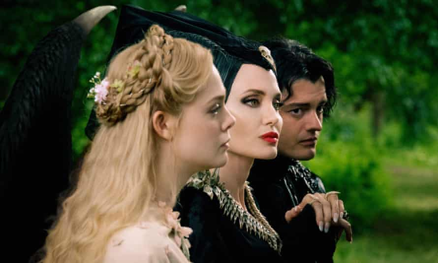 Less interesting this time around … Elle Fanning as Aurora, Angelina Jolie as Maleficent and Sam Riley as Diaval in Maleficent: Mistress of Evil.