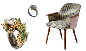 From left to right, ring by Maud Traon, ring by Castro Smith, chair upholstered in Majeda Clarke's Shaded Triangle fabric