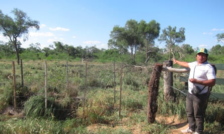 A newly installed fence encloses cleared land on Cuyabia territory in Paraguay