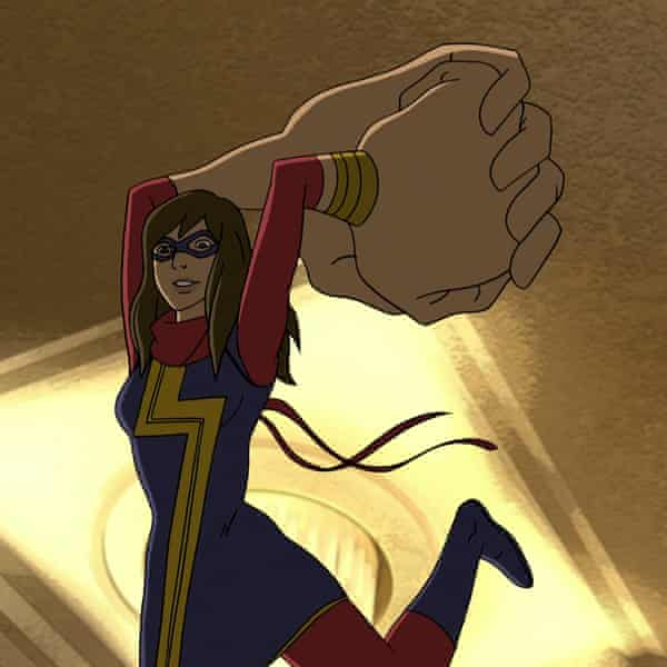 Signature move … shapeshifting Ms Marvel smashes opponents with giant fists.