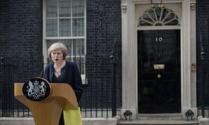 Theresa May outside No 10 in 2016
