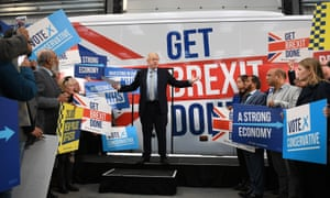 Boris Johnson at the unveiling of the Conservative party battlebus in Middleton.