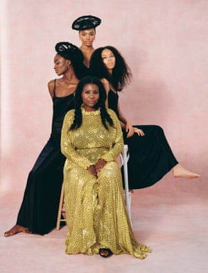 'For so long, there were all these European standards and stereotypical images of what black hair looked like and what it meant': Charlotte Mensah wears yellow dress, preenbythorntonbregazzi.com. Zainab (left) wears sustainable black dress, madebyvoz.com, and earrings, shaunleane.com. Lisa (middle) wears black slip, joseph-fashion.com, and earrings, shaunleane.com. Ruby (right) wears sustainable black dress, madebyvoz.com.