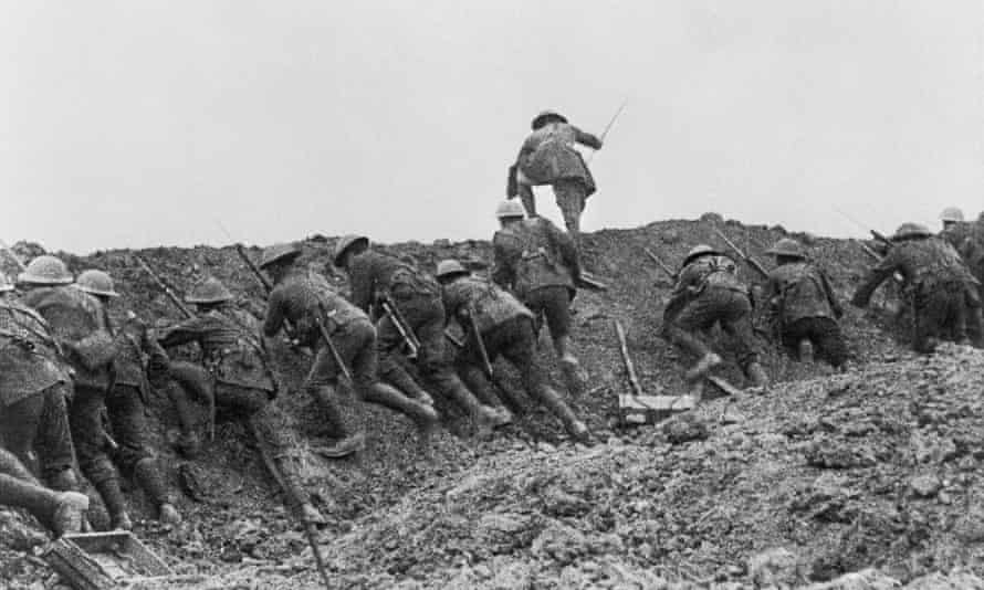 Staged scene Battle of the Somme film.