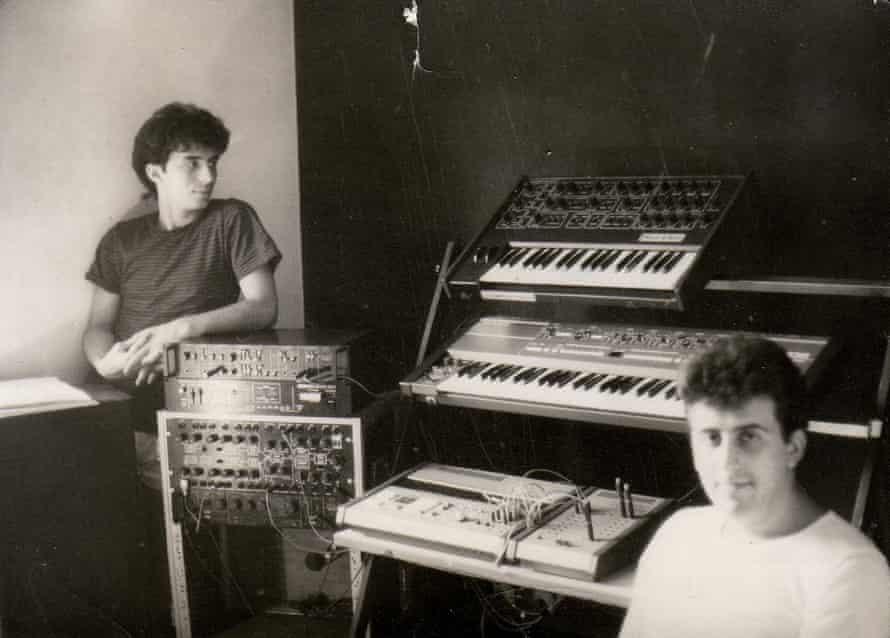 Zoran Jevtić (right) and Zoran Vračević with their synth rig in 1984.