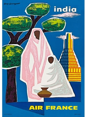 Air France/India, by Guy Georget, 1960s. Available from Travel on Paper, dealers in mid-century travel and event posters