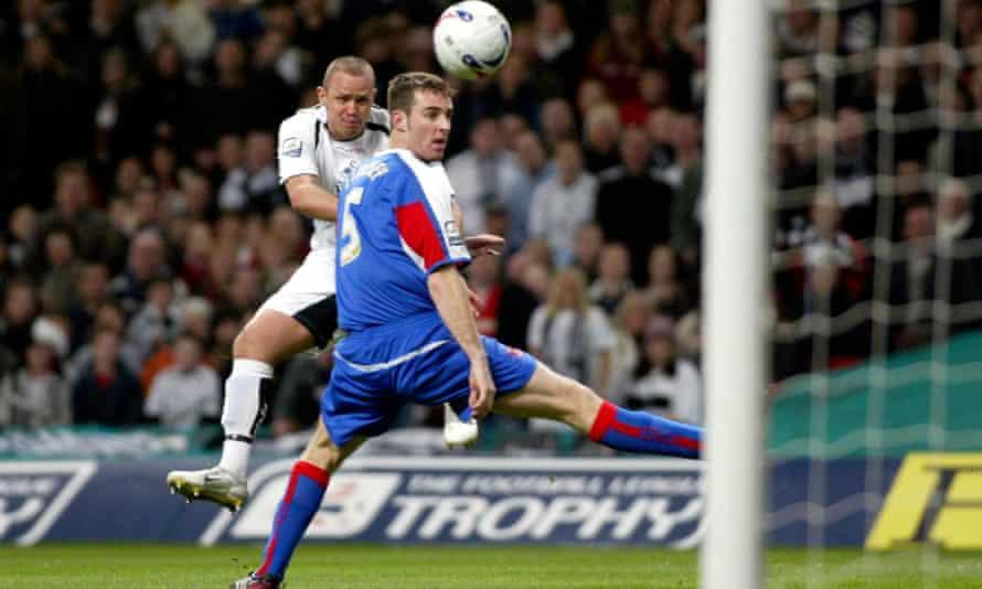 Lee Trundle lashes home for Swansea City against Carlisle at the Millennium Stadium.