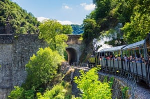 A steam locomotive takes passengers into the gorges of the Ardèche.