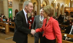 Jim Murphy shakes hands with Scotland's first minister and SNP leader Nicola Sturgeon