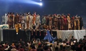 Models present creations at Kanye West's Yeezy Season 3 Collection presentation