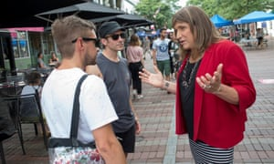 Christine Hallquist campaigning on Church Street in Burlington, Vermont, on 8 August. If she wins the Democratic primary, she will face the incumbent Republican governor Phil Scott.