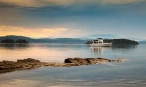 Sunset at Montague Harbour Marine Provincial Park on Galiano Island in the Gulf Islands, British Columbia, Canada