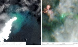 Satellite imagery showing volcanic activity in the Tongan archipelago
